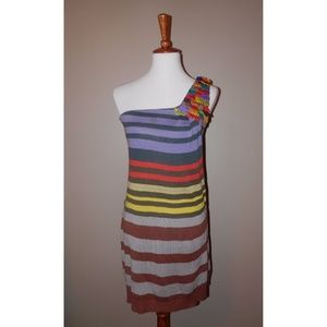 Nanette Lepore Dress Small One Shoulder Striped